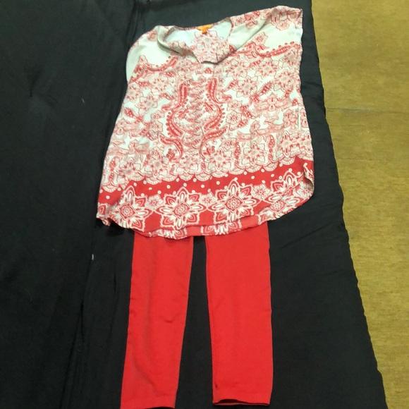 NO BRAND RED LEGGING & JOE FRESH RED/CREAM DRESS